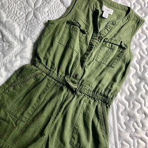 Old navy green military girls romper